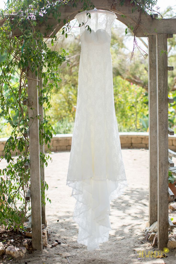 Wedding Dress Photo.  Herb Garden.