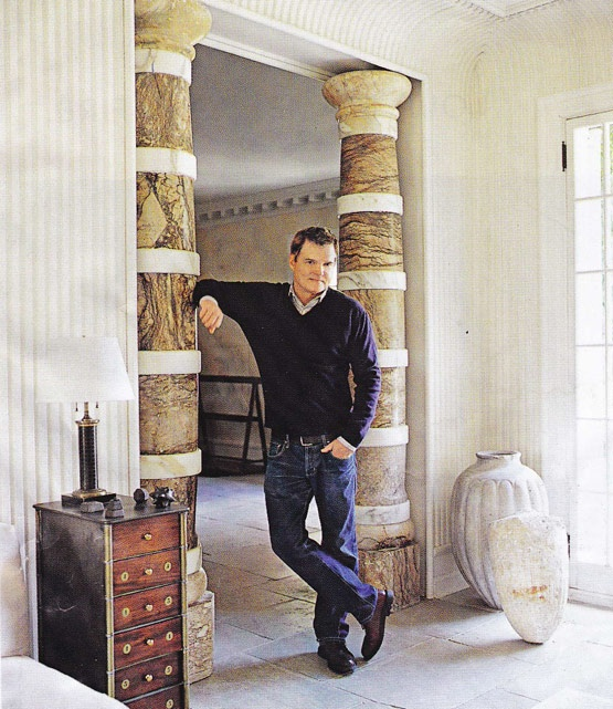Designer Stephen Sills with gorgeous stone and marble banded columns: Details Column, Fantastic Columns, Column Treatment, Banded Columns, Marble Banded, Alo Columns