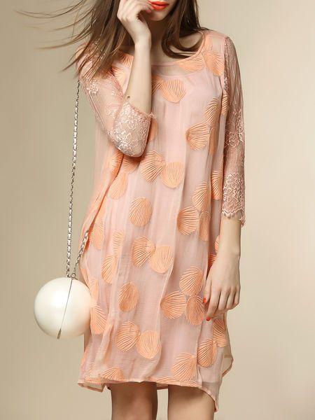 Lace Paneled Silk Mini Dress