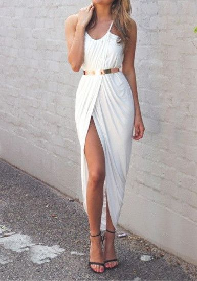 Front Split Dress with golden belt and sandals