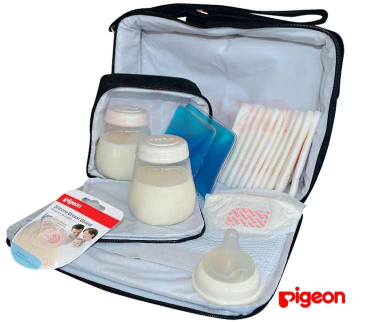 Set de lactancia materna Pigeon   Permite almacenar y transportar la leche, Contiene lo necesario para una lactancia exitosa, La mamá podrá incluir el extractor que utilice