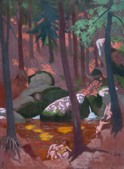 'Rochers et mare au Huelgoat' (Rocks and pond in Huelgoat)' (c.1928) by French Symbolist painter Maurice Denis (1870-1943). Oil on canvas on cardboard, 100 x 75 cm. via Interior with mirror