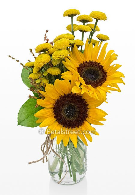 sunflower arrangements in mason jars | Fall Sunflowers and yellow mums in a mason jar.