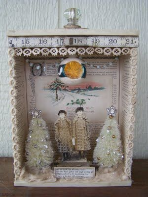 Winter Scene in a Vintage Wooden Drawer - idea for displaying old family photos; pin for inspiration