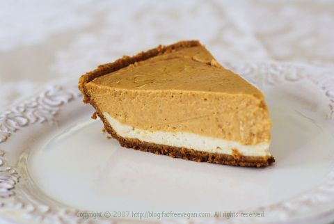 Double-Layer Pumpkin Cheesecake  Note - this is NOT fat free and should be only consumed on holidays where a lot of people can share it :)