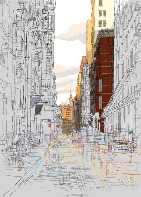 Rupert Van Wyk - Busy brick street, late evening, looking towards the Chrysler building, NYC