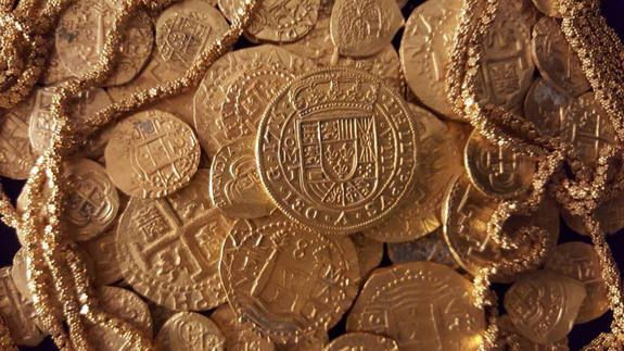 """The royal coin.The """"Tricentennial Royal"""" coin pictured here was die-cast, unlike most coins minted in the Spanish colonies during the 1700s. Credit: 1715 Fleet Queens Jewels, LLC"""