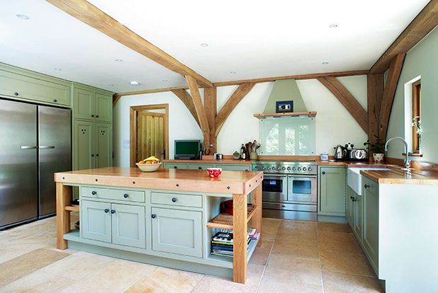 duck egg kitchen in a country style home