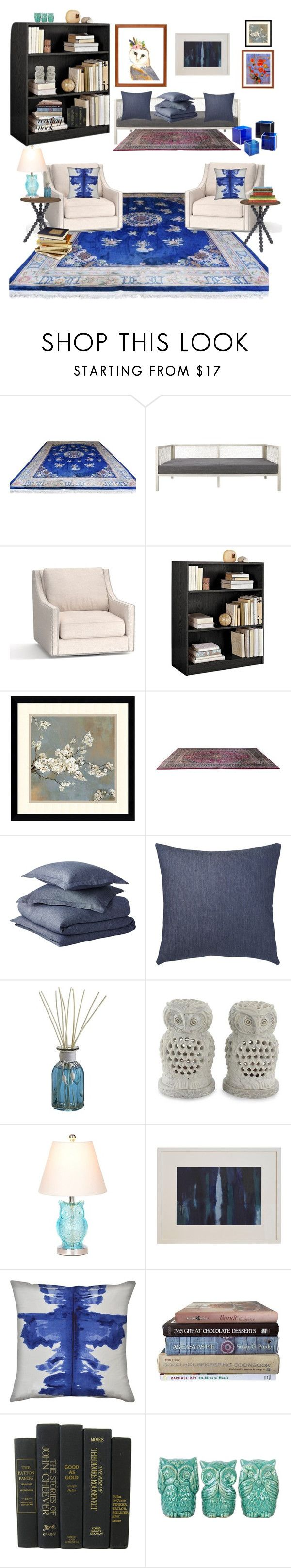 """""""Curl Up:Reading Nook"""" by sereneowl ❤ liked on Polyvore featuring interior, interiors, interior design, home, home decor, interior decorating, Pottery Barn, Amanti Art, Sarreid and Pier 1 Imports"""