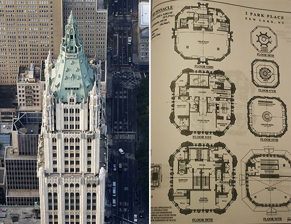 The woolworth building at 233 broadway and floor plans of for Broadway plan