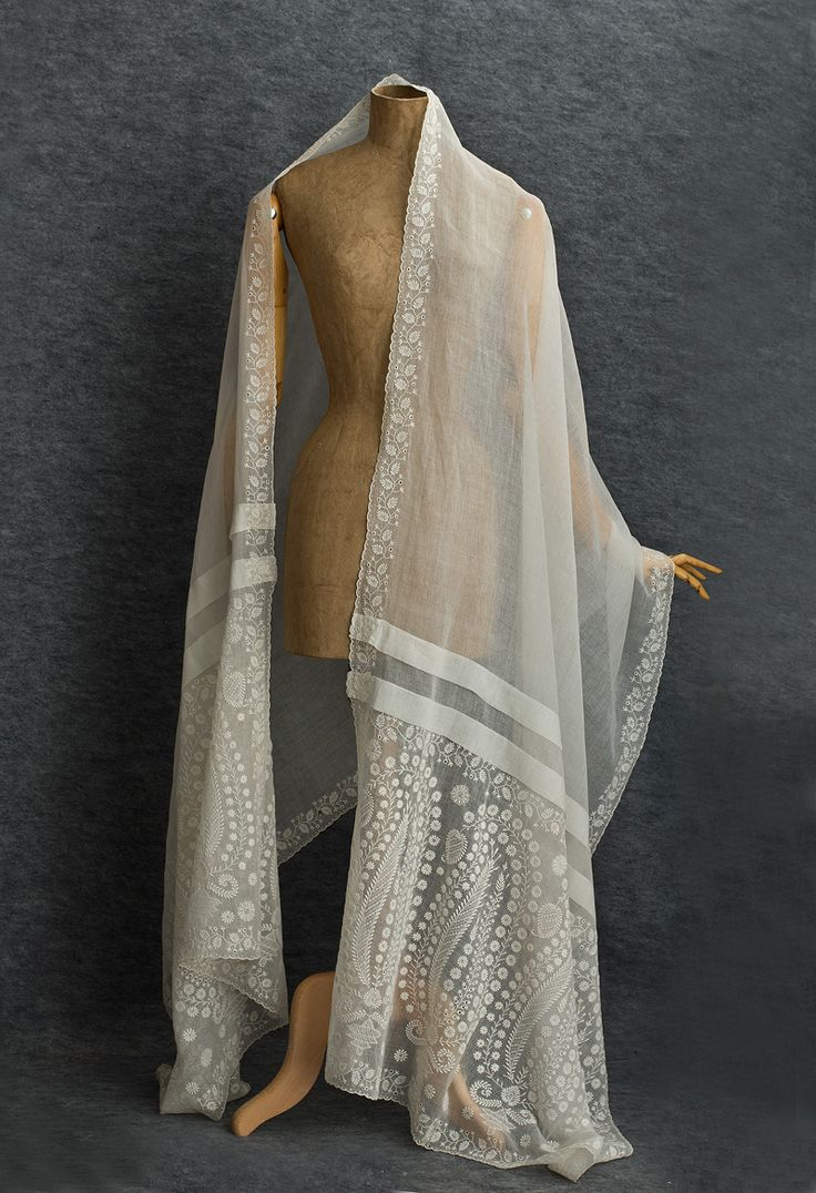 Directoire Shawl: ca. 1805, hand-embroidered sheer cotton mull.