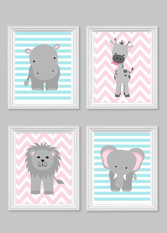 Zoo Kinderzimmer Dekor, Baby Mädchen Zoo Dekor, Aqua Rosa Grau, Safari Kindergarten, Dschungel Kindergarten, Elefant Kindergarten Kunst, Giraffe Kindergarten, Hippo Kindergarten