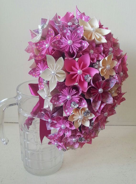 paper flower origami bouquet wedding crystals cascade tear