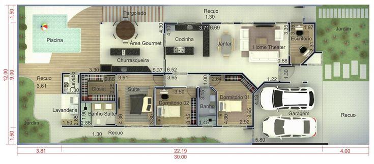 Planta de casa térrea com área gourmet 12X30 – Planta Baixa