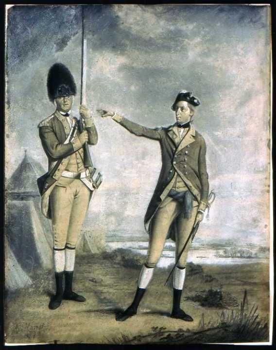 "After being wounded, Ross was drafted to NY: ""He's in New York, now [...] part of the 62nd regiment of foot"" (Ross Poldark, prologue). Painting depicting a soldier from a light company and an officer from a different company of the same regiment. Given the date when the painting was created, 1772 or 1773, as well as the facings, lace and hats, it appears that the two men are from the 62nd Regiment of Foot (http://en.wikipedia.org/wiki/62nd_%28Wiltshire%29_Regiment_of_Foot)."