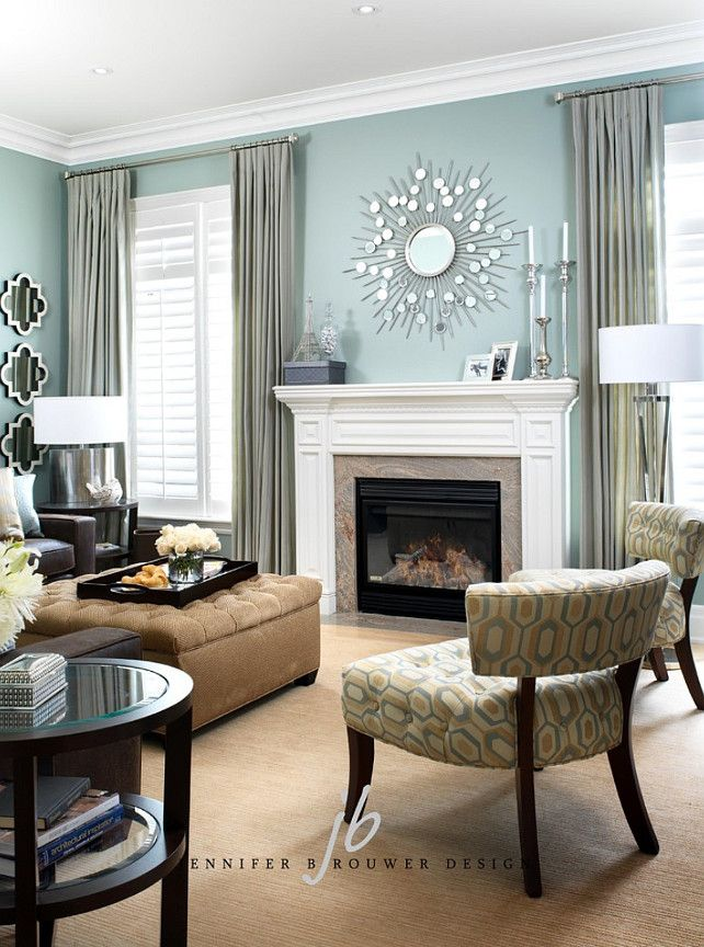 Find This Pin And More On Living Rooms Pale Teal Living Room By Jennifer Brouwer Design Inc Love The Wall Color