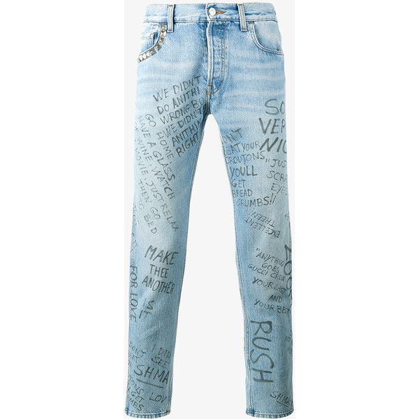 Gucci Punk Printed Jeans ($870) ❤ liked on Polyvore featuring men's fashion, men's clothing, men's jeans, mens blue jeans and gucci mens jeans