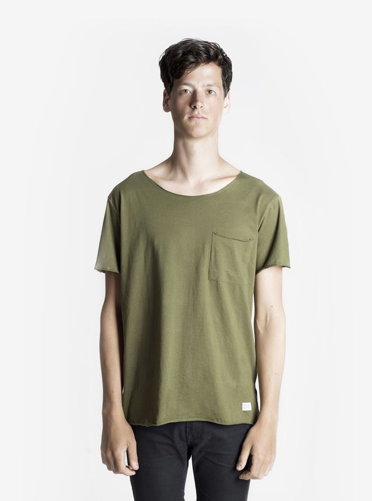 Profound Aesthetic Basic Raw-Cut Elongated Short Sleeve Tee in Olive Army | profoundco.com