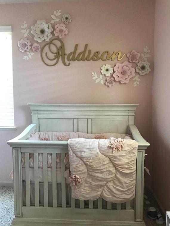 set of 10 blush cream paper flower wall decor girls on wall decor id=54125