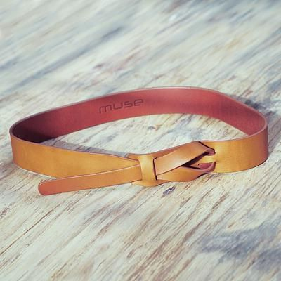 Tan Brown Leather Belt for Women in Modern Design - Classical Tan | NOVICA