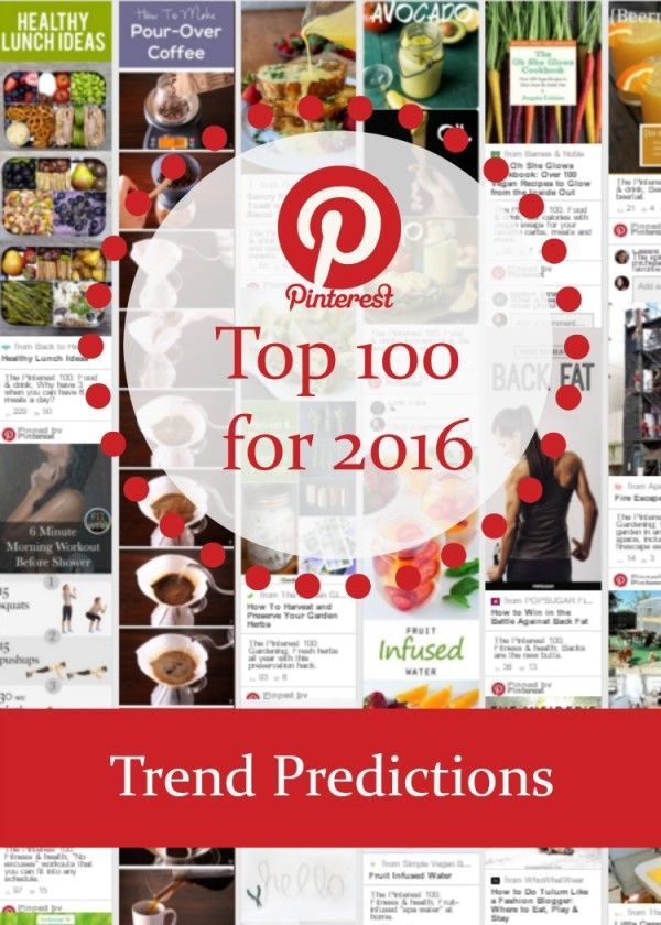 Wondering what will be trending on Pinterest during 2016? Check out the Pinterest Top 100  for 2016, with the top ten pins across the top ten categories.