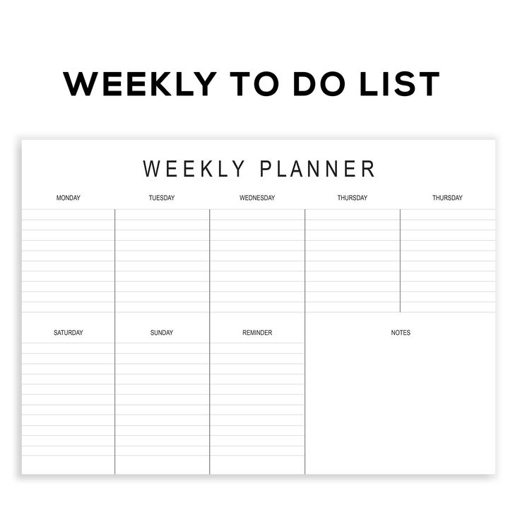 Printable Weekly Planner To Do List to plan your weekly agenda , appointment and meetings