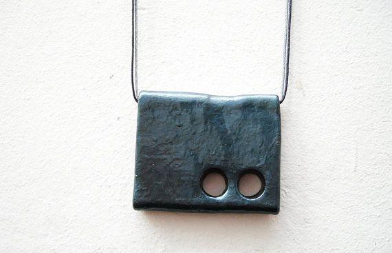 steel  ooak handmade clay pendant graphite dark green by Joogr, €23.00