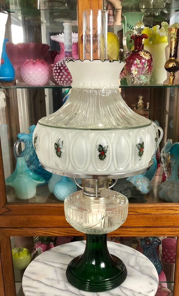 Aladdin Short Lincoln Drape Oil Lamp Clear Over Green Hp Shade