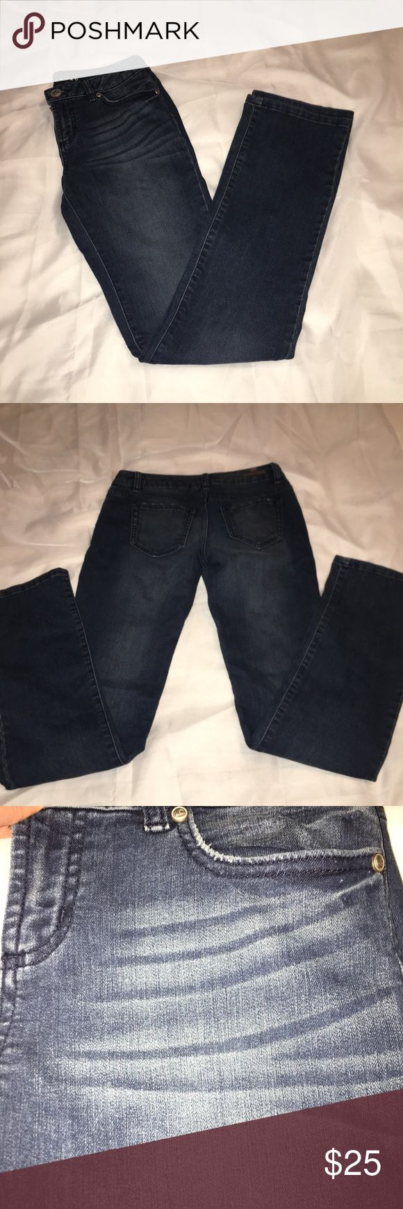 Laura Conrad Straight Dark Wash Jeans w/ distress These LC jeans are super soft and comfortable. The inseam is approximately 32 inches. These are in EUC. They have distressing on the front and the back pockets. Barely worn jeans!! LC Lauren Conrad Jeans Straight Leg