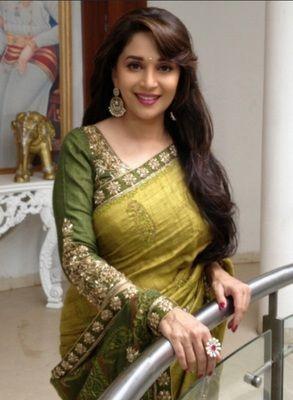 Madhuri Green Bollywood Designer Beautiful Sarees Bollywood Sarees Online on Shimply.com