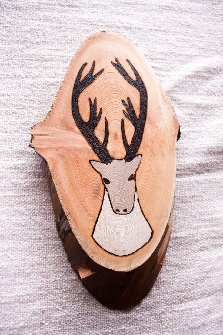 Reindeer painting on wood, deer antler nursery, pyrography art, wooden nursery decor, deer drawing for boy's nursery, antler rack wood slice by Tundrada on Etsy