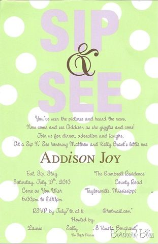 Ideas for new parents & baby. Sip 'n' see Invitation wording