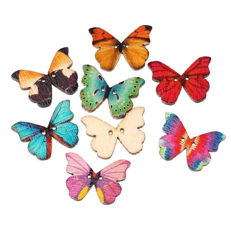 DoreenBeads Kupu-kupu Di Acak Dua Lubang Kayu Tombol Jahit Scrapbooking 28mm x 21mm, 7 PCs 2015 baru