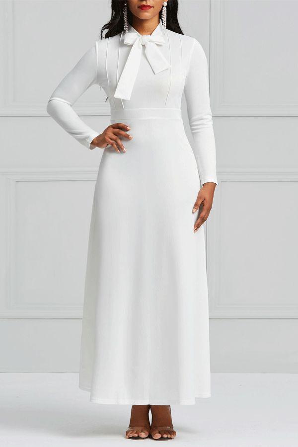 55590c26db2 Ericdress Long Sleeves Bowknot Plain Women s Dress Dress