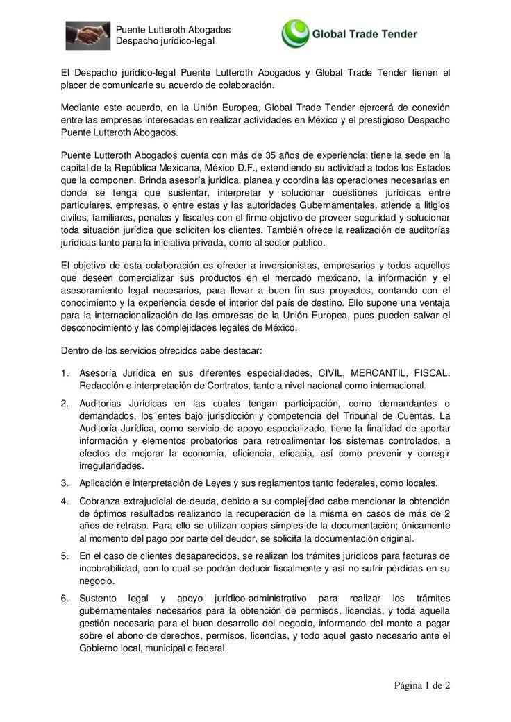 Servicios jurídicos empresariales en México ofrecidos tras el acuerdo alcanzado por la mexicana Puente Lutteroth Abogados y la española Global Trade Tender