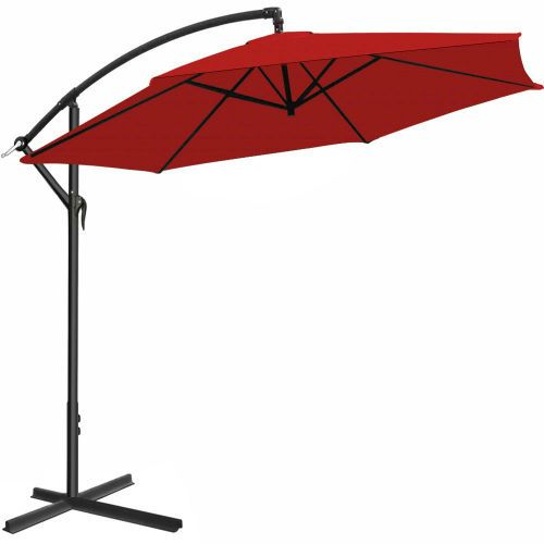 Large Patio Umbrella Red Hanging Parasol 3m Outdoor Sun Shade With Crank  Handle