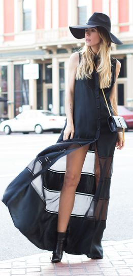 Black Button Tank Maxi Dress