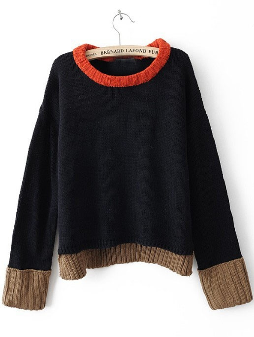 Navy Long Sleeve Contrast Trim Sweater