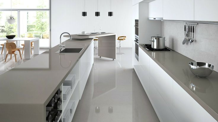 Image result for grey benchtop white cupboards Kitchen - k chenzeile l form