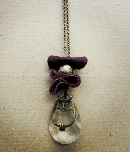 Necklace#glass#pendant#raku#ceramic#pearl#owl#leather#darkred