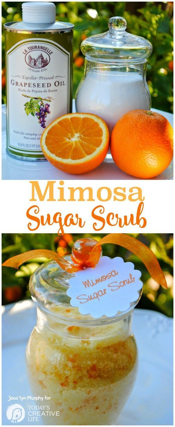 Homemade Mimosa Sugar Scrub | Make your own diy sugar body scrubs! This homemade spa recipe will leave you silky smooth and smelling amazing. See the recipe on TodaysCreativeLife.com