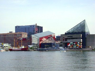 """The Inner Harbor is a historic seaport, tourist attraction, and landmark of the city of Baltimore, Maryland. It was described by the Urban Land Institute in 2009 as """"the model for post-industrial waterfront redevelopment around the world."""" The city's premier tourist attraction,  Baltimore's Inner Harbor boasts The National Aquarium, Harborplace, Maryland Science Center and a host of restaurants and shops."""