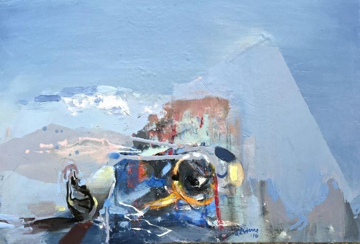 ELAINE d'ESTERRE - Listening to Land, 2016, oil on board, 40x62 cm.  #outbackaustralia #surrealselfportraiture #desertenvironment. Also at #http://elainedesterreart.com/ and #http://www.facebook.com/elaine.desterre/ and #http://instagram.com/desterreart/