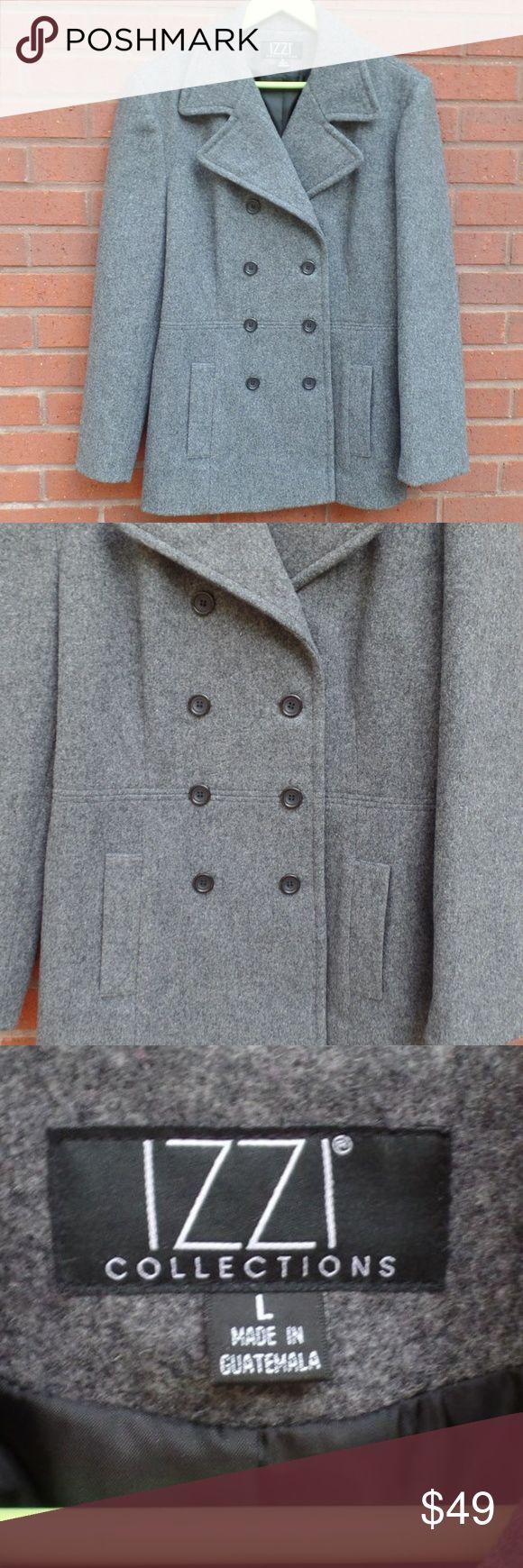 Izzi Gray Wool Winter Pea Coat Lined Large Winter Pea Coat Peacoat Wool Winter [ 1740 x 580 Pixel ]