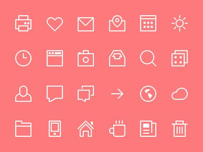Dribbble - Thin Stroke Icons by Victor Erixon