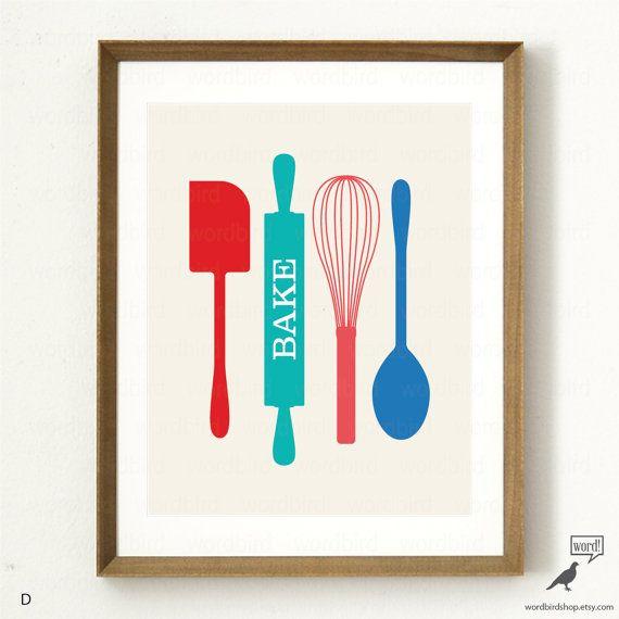 Baking Poster, Bakers Wall Decor, Kitchen Art Print by WordBirdShop
