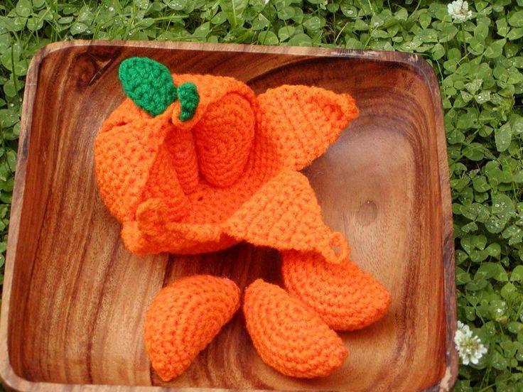 Orange mit Stücken häkeln