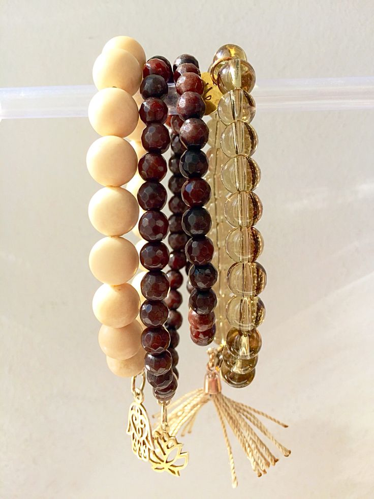Beige & Brown stones with golden pendants by My Little Thinhgs