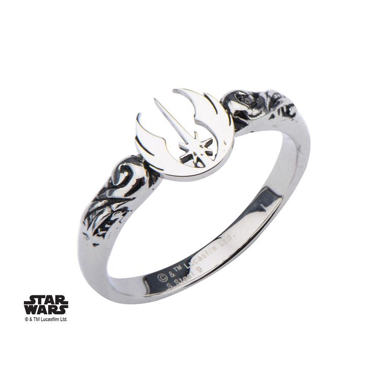 In Box Licensed Star Wars Jedi Symbol Cut Out Stainless Steel Woman's Ring