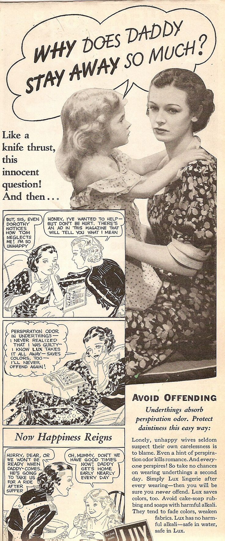 Daddy gets home early because her underthings have no more perspiration odor... Ad (1934).